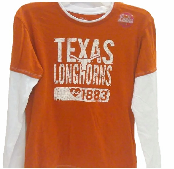LONGHORNS: ORANGE/WHITE L/S T-SHIRT EST 1883- LADIES LIMITED QUANTITIES AVAILABLE
