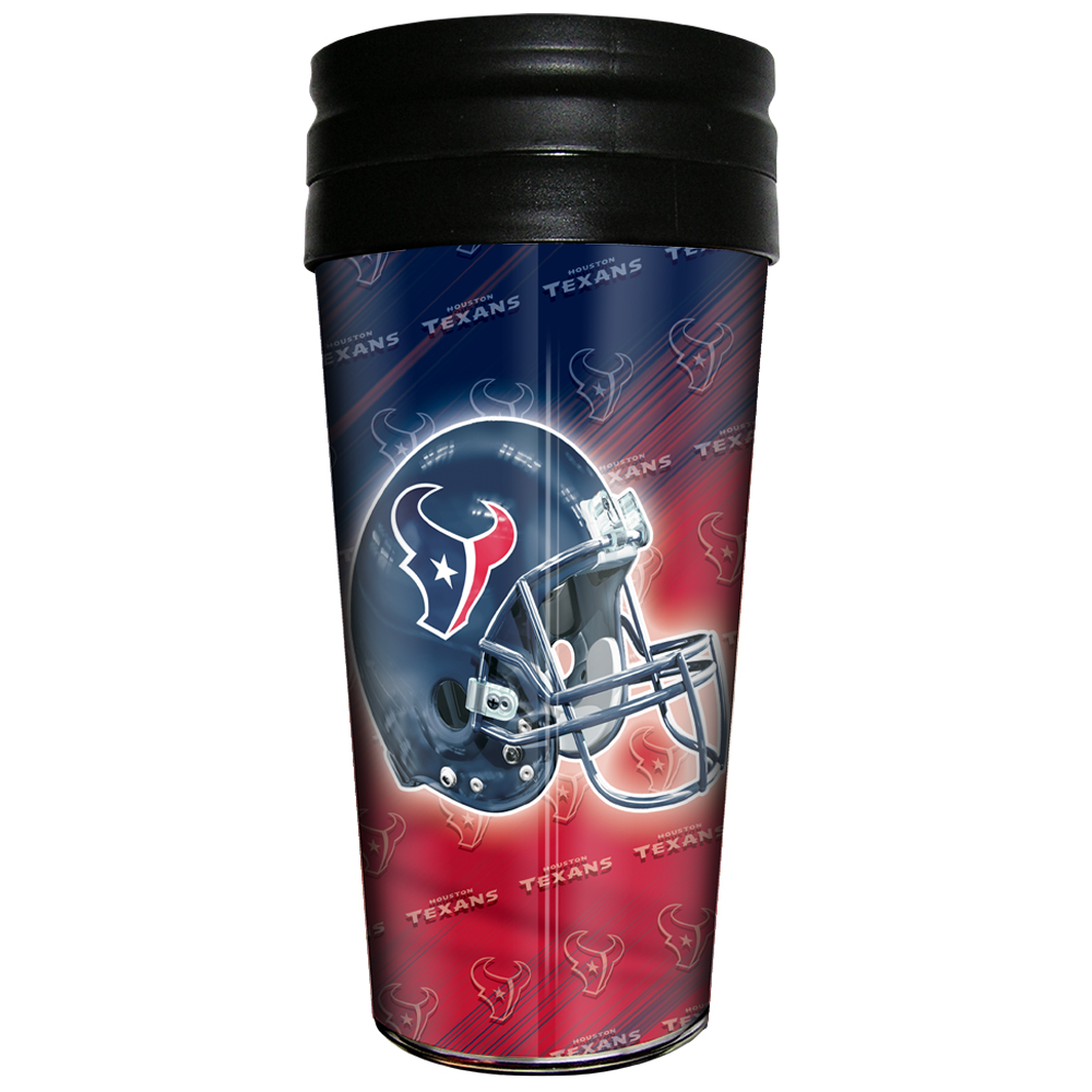 TEXANS: THERMAL TRAVEL TUMBLER WITH METALLIC INSERT LIMITED QUANTITIES AVAILABLE