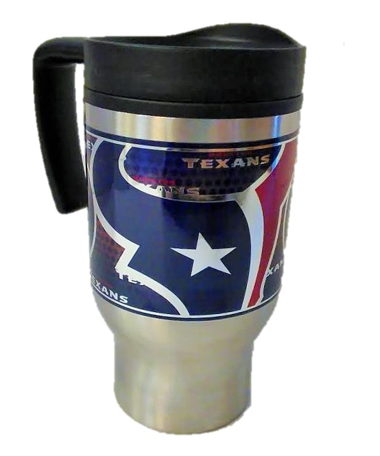 TEXANS: STAINLESS STEEL TUMBLER WITH METALLIC WRAP 16 OZ LIMITED QUANTITIES AVAILABLE
