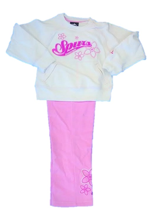 SPURS: 2PC WHITE & PINK FLEECE SET WITH MONOGRAMMED SPURS BASKETBALL-GIRLS- SIZES S, M, & l- LIMITED QUANTITIES AVAILABLE