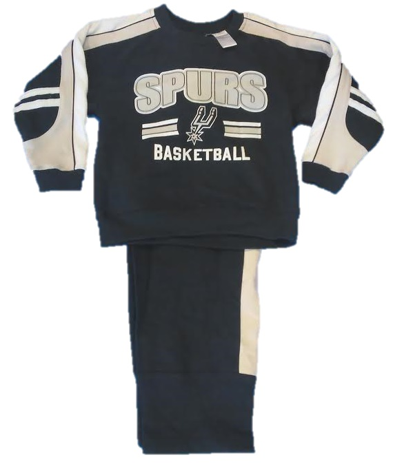 SPURS: 2PC BLACK/WHITE/GREY WITH SPURS BASKETBALL & LOGO FLEECE SET- YOUTH UNISEX- SIZES 4/5 & 6/7  LIMITED QUANTITIES AVAILABLE