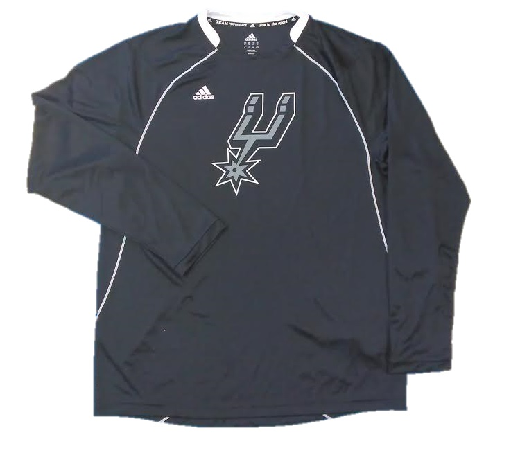 SPURS: LONG SLEEVE- ADIDAS DRI FIT  BLACK WITH LOGO- MENS- SIZES L & XL ONLY- LIMITED QUANTITIES AVAILABLE