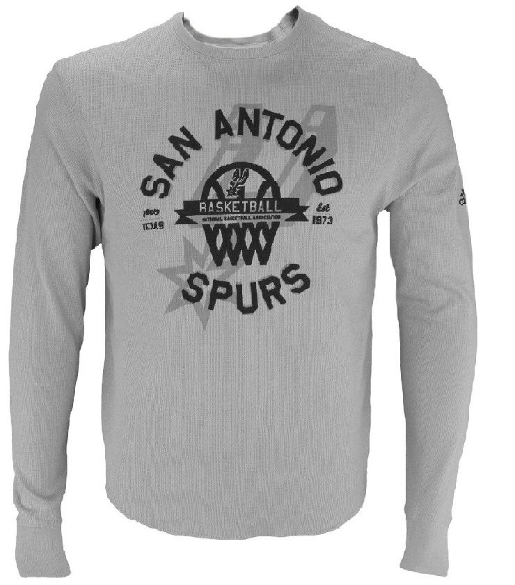 SPURS: LONG SLEEVE-GREY SAN ANTONIO SPURS BASKETBALL 78219 TEXAS EST 1973- MENS LARGE SIZES ONLY LIMITED QUANTITIES AVAILABLE