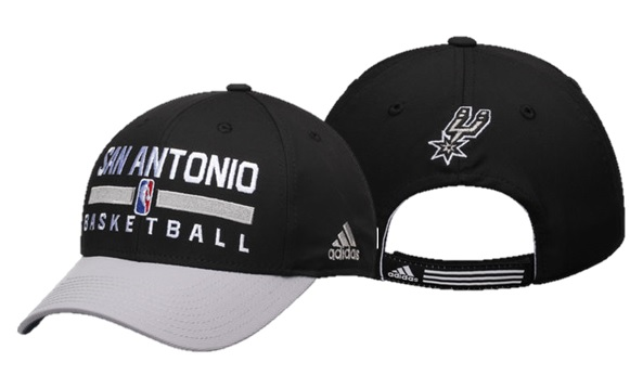 SPURS: CAP- BLK W/ GREY BRIM, SAN ANTONIO BASKETBALL, &  LOGO ON BACK- VELCRO ADJUSTABLE- STYLE VN75Z- ONE SIZE FITS MOST