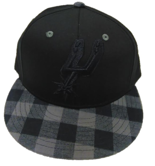 SPURS: CAP- BLK ON BLK LOGO W/PLAID BILL- SNAPBACK- STYLE XZ789- ONE SIZE FITS MOST