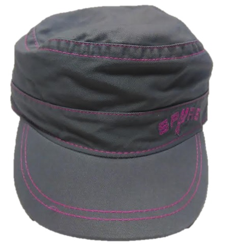 SPURS: CAP- CADET- GREY/PINK W/SPURS ON FRONT LOGO AS THE U-BUCKLE ADJUSTABLE- STYLE YW115- ONE SIZE FITS MOST