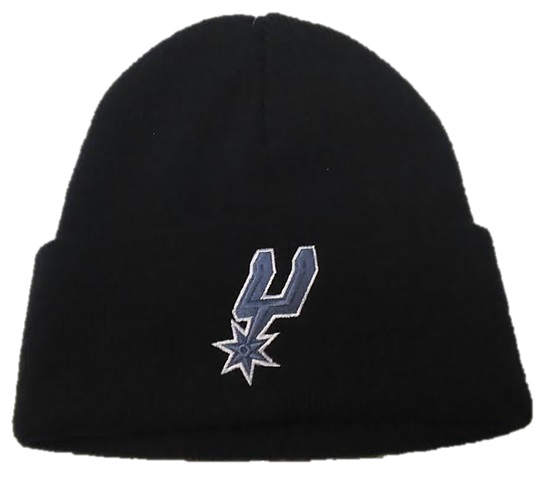 SPURS: BEANIE- BLIK W/GREY LOGO ON FRONT & SPURS  ON BACK (WHITE)- CUFFED STYLE KZM26- ONE SIZE FITS MOST- LIMITED QUANTITIES AVAILABLE