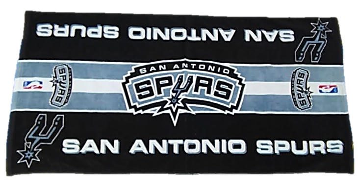 SPURS: BEACH TOWEL- BLACK, GREY, & WHITE