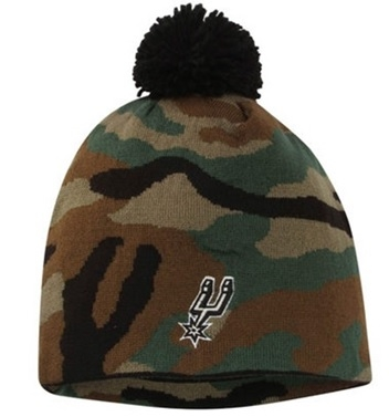 SPURS: BEANIE- CAMO W/ LOGO ON FRONT- CUFFED W/ POM STYLE KQ24Z- ONE SIZE FITS MOST