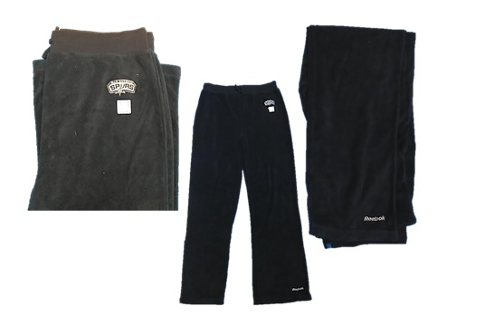 SPURS: PANTS- REEBOK DRAWSTRING TERRY CLOTH LIKE PANTS WITH SAN ANTONIO SPURS MONOGRAMMED BY LEFT HIP AND REEBOK MONOGRAMMED ON  BOTTOM OF LEFT LEG (NAVY)-WOMENS SIZES M & L ONLY- LIMITED QUANTITIES AVAILABLE