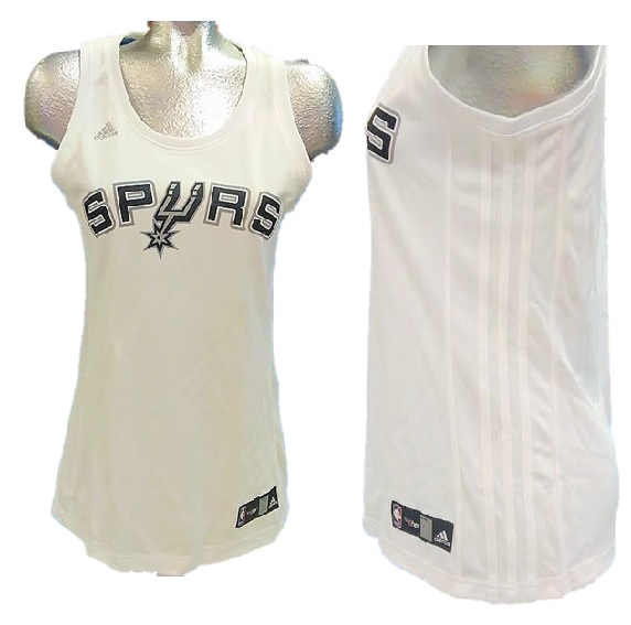 SPURS: JERSEY- ADIDAS WITH SPURS AND LOGO AS U PRINTED ON FRONT AND NBA SYMBOL MONOGRAMMED ON BACK ALSO HAS WHITE STRIPES ON SIDES- WOMENS SIZES S, M, L, XL, AND XXL
