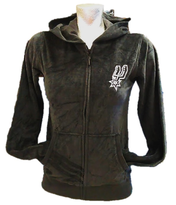 SPURS: JACKET- ADIDAS VELOUR  ZIP UP W/HOOD & POCKETS WITH SPURS LOGO MONOGRAMMED ON LEFT CHEST ( BLACK)- LADIES SIZES S (LIMITED), XL, XXL- LIMITED QUANTITIES AVAILABLE