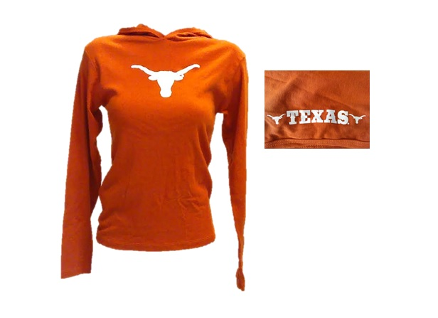 LONGHORNS: ORANGE L/S T-SHIRT W/HOOD LOGO ON FRONT W/ 2 LOGOS & TEXAS IN MIDDLE ON LEFT SIDE OF HOOD-LADIES SIZES S/M.L.XL LIMITED QUANTITIES AVAILABLE