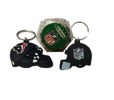 TEXANS: RUBBER HELMET KEYCHAIN 60 PER FISHBOWL DISPLAY