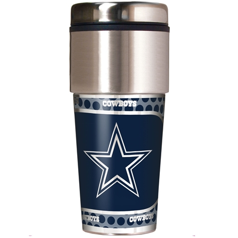 DALLAS COWBOYS TUMBLER MUG: 16 OZ, 12 PER, (HEIGHT 7.75 IN, LENGTH 3.25 IN, WIDTH 3.25 IN)