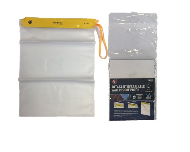 "RESALABLE WATERPROOF POUCH: 10"" X 13.5"""