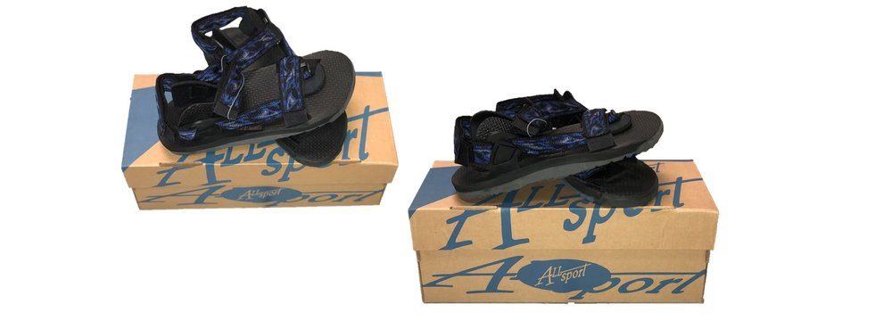 all sports: mens sport sandals (black and blue), available in sizes 4,5.6.7.
