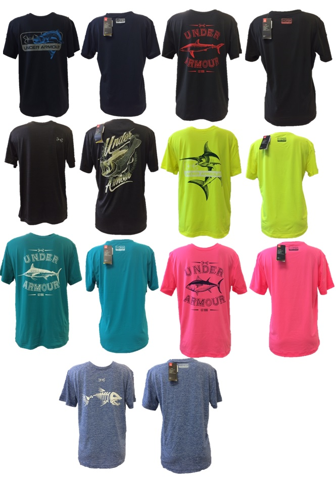 Assorted under armour fish t-shirts, comes in assorted sizes, assorted colors, and assorted designs. Styles may vary
