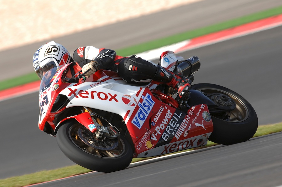 Riding Troy Bayliss's Ducati 1098 F08 at Portimao, 2008. Photo courtesy of WSBK & SuperbikePlanet.