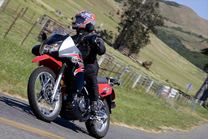 Riding the Kawasaki KLR 650 in Sonoma County, California. Photo courtesy of Kawasaki and SuperbikePlanet.