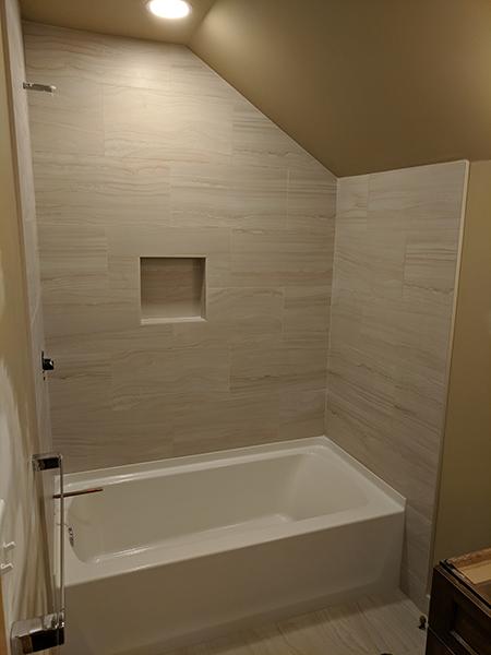 new beautiful tile in bath remodel