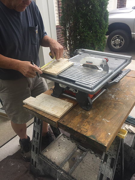 cutting tile for fireplace stone.