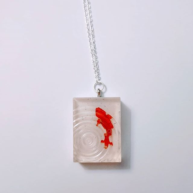 Wear your own Zen pond. #koi #zen #pond #greengrackle #necklace #resin