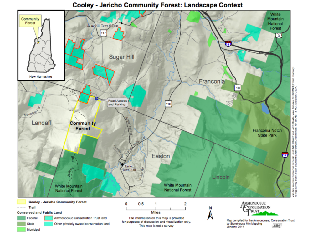 Context map of the Cooley-Jericho Community Forest.
