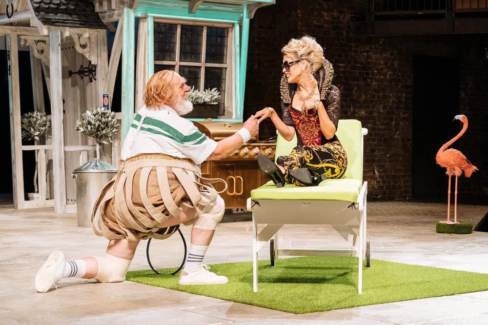 © Manuel Harlan, RSC (David Troughton as Sir John Falstaff and Beth Cordingly as Mistress Ford)