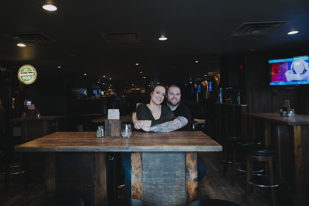 Casual coffee breakfast engagement session at  TOWNHALL Public House in Langley, BC. By Christina Voorhorst of Mimsical Photography.  #breakfast #engagement #shotglasses #indoors #townhall #langley #britishcolumbia #westcoastphotographer #pub #alehouse #tattoos #coffee #documentary