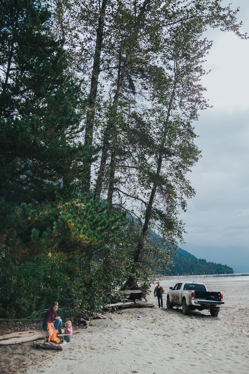 fire building. Four wheel drive adventure family session. Harrison Lake, British Columbia  #truck #fourwheeldrive #adventure #family #reallife #documentary #storytelling #getoutside