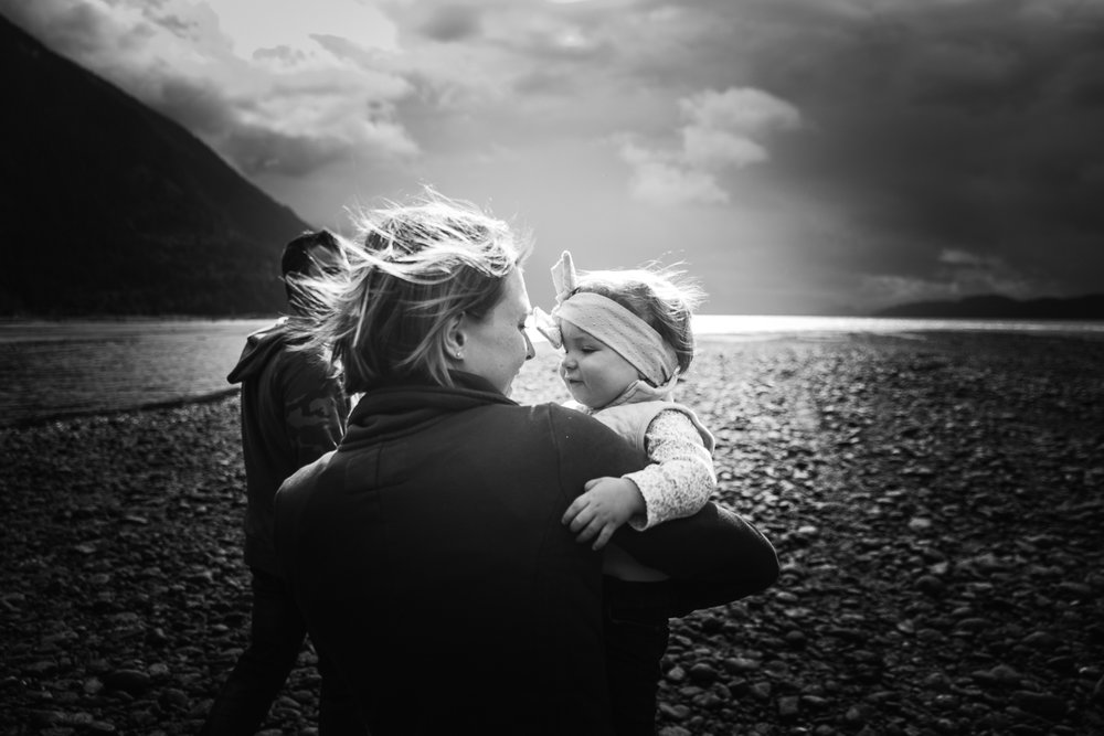 mother and daughter moody black and white windy.  Four wheel drive adventure family session. Harrison Lake, British Columbia  #truck #fourwheeldrive #adventure #family #reallife #documentary #storytelling #getoutside