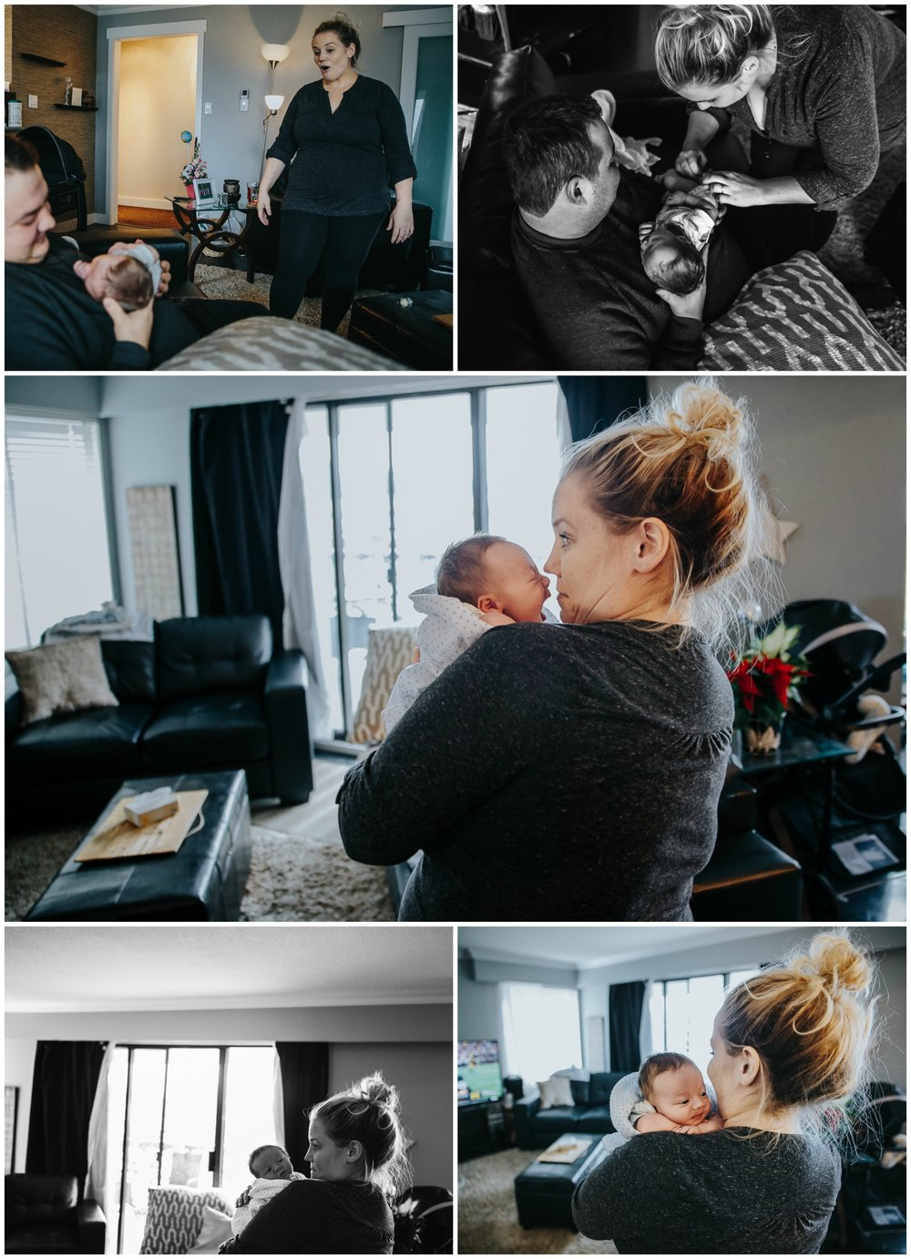 baby farts, funny faces.   In home documentary newborn session. Mimsical Photography, White Rock, British Columbia #newborn #lifestyle #documentary #reallife #babyboy #nursery #black #apartment #firstbaby #christmas #newparents