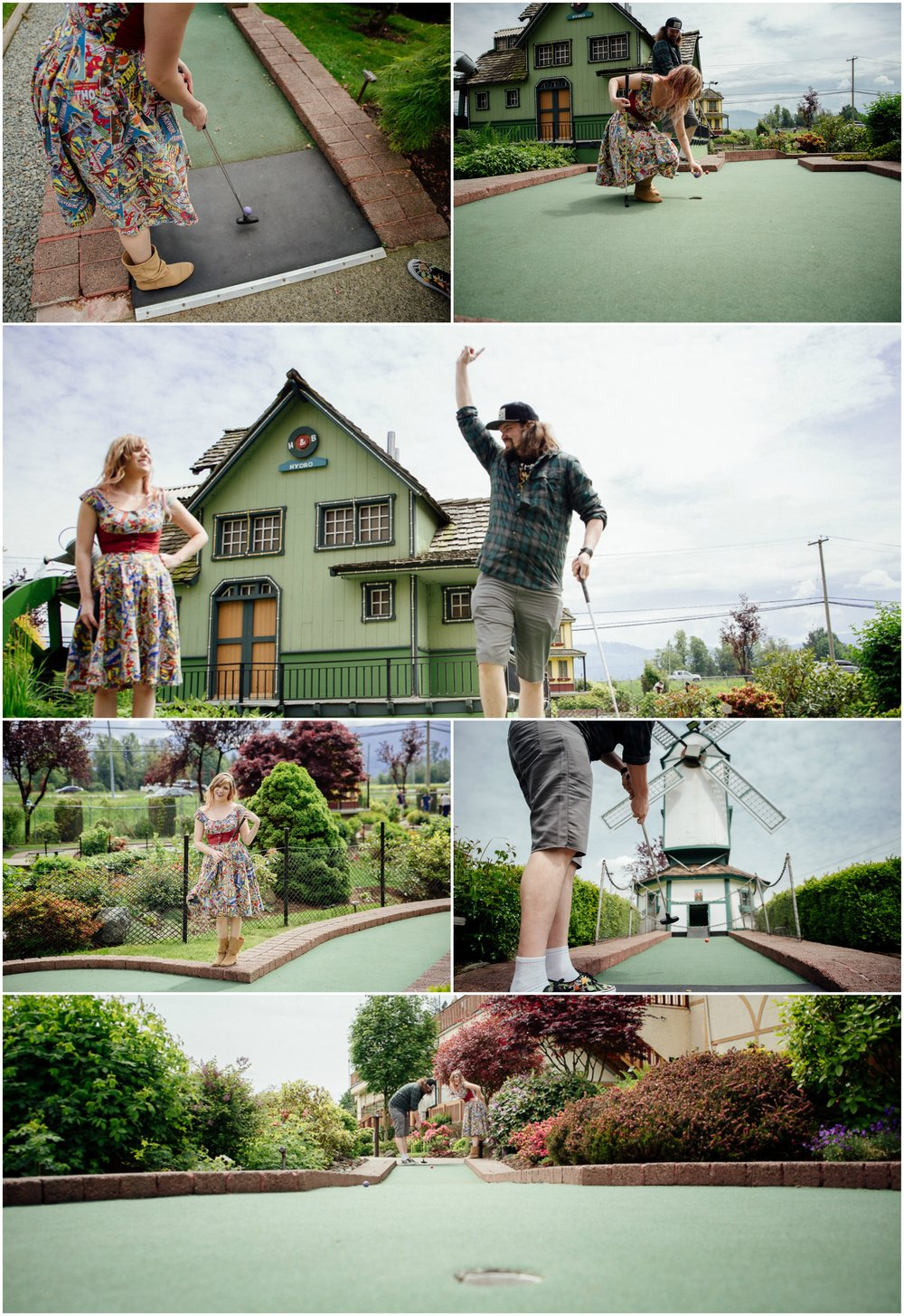 Mini putt collage of couple   Castle Fun Park Documentary Engagement Photography, minigolf date by Mimsical Photography. Real stories about Real Couples that are just as unique as they are. #unique #vibrant #personality #nerd #princess #ecclectic #gamer #couple #minigolf #vancouver #candid #storytelling #connect #datesforcouples #arcade #arcadedate