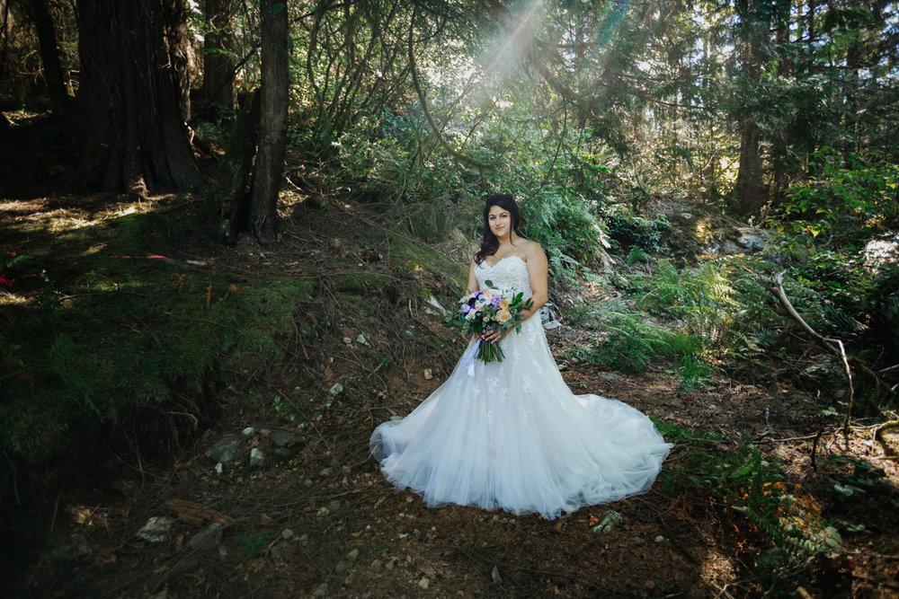 Bride in BC forest green - pruple and white accents   Mimsical Photography Documentary Wedding Photography, Camp Howdy, Belcarra Provincial Park, North Vancouver. Purple and Grey Wedding Colours, Natural Greenery, Rustic Details, Summer, Lace and chiffon, big wedding, greek, lower mainland, british columbia, real, genuine, candid