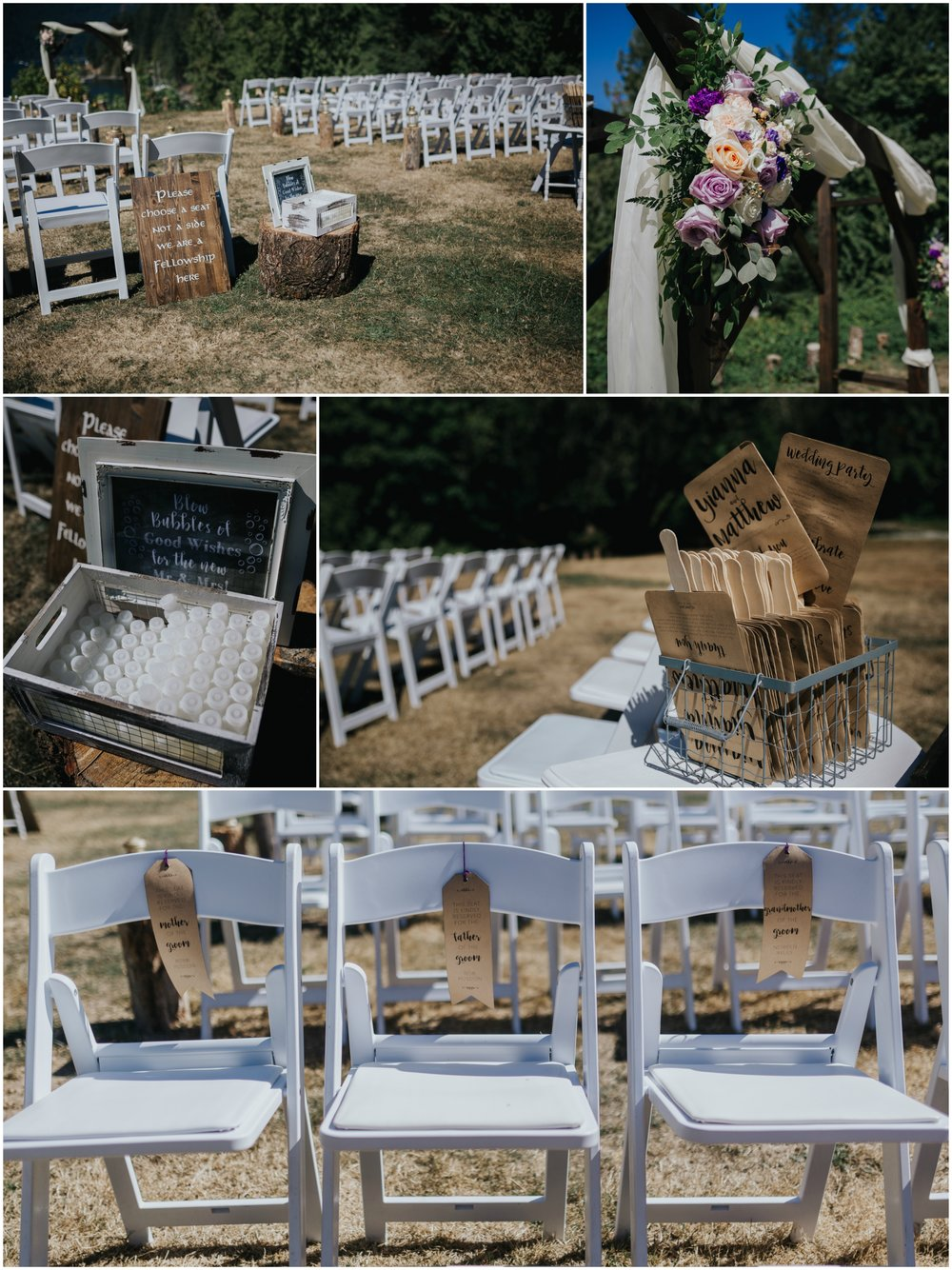 full sun ceremony - lord of the rings ceremony fellowship sign, unplugged ceremony calligraphy sign, fan programs, chair saver ribbons  Mimsical Photography Documentary Wedding Photography, Camp Howdy, Belcarra Provincial Park, North Vancouver. Purple and Grey Wedding Colours, Natural Greenery, Rustic Details, Summer, Lace and chiffon, big wedding, greek, lower mainland, british columbia, real, genuine, candid