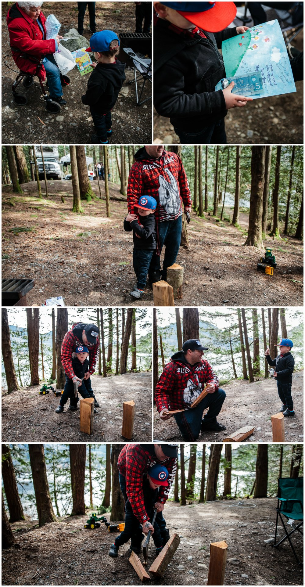 Wood chopping with father and son during camping trip.jpg