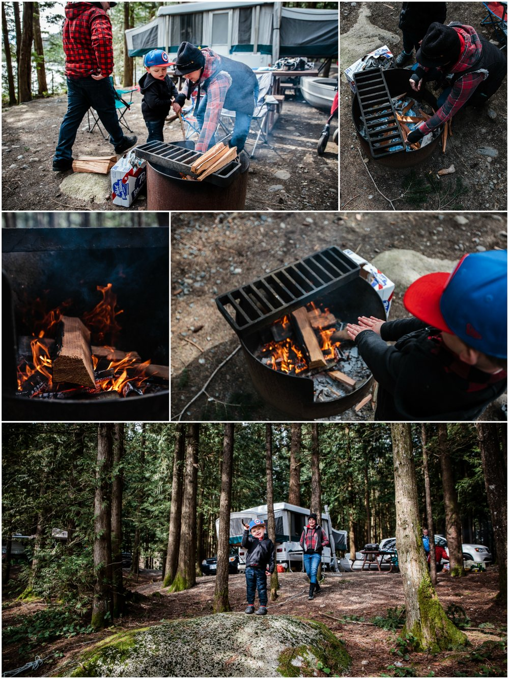 Mother and Father building fire during camping trip fire pit warming hands on fire.jpg