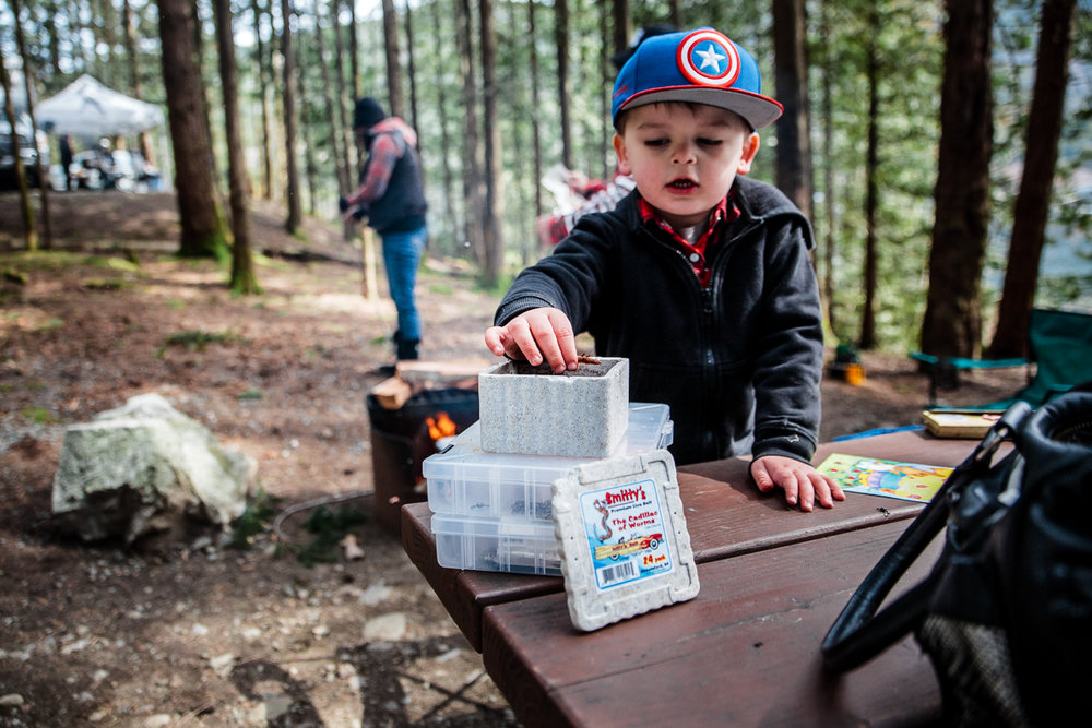 Sasquatch Park Hicks Lake Camping Engagement Session Plaid Fishing Child Forest Fun Candid Documentary-104.JPG