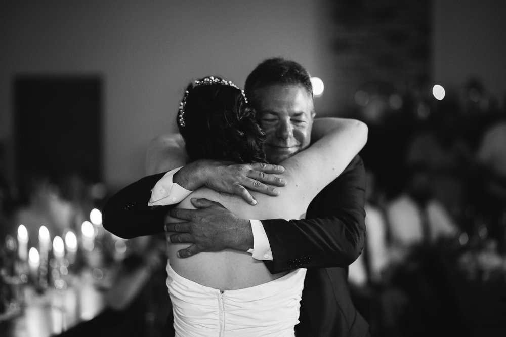 father daughter dance  during  candle light rustic themed wedding reception at Kwomais Hall by Kwomais Point Park in Ocean Park Surrey british columbia by best wedding photographer from Langley Mimsical Photography Christina Voorhorst style is documentary candid and fun photos