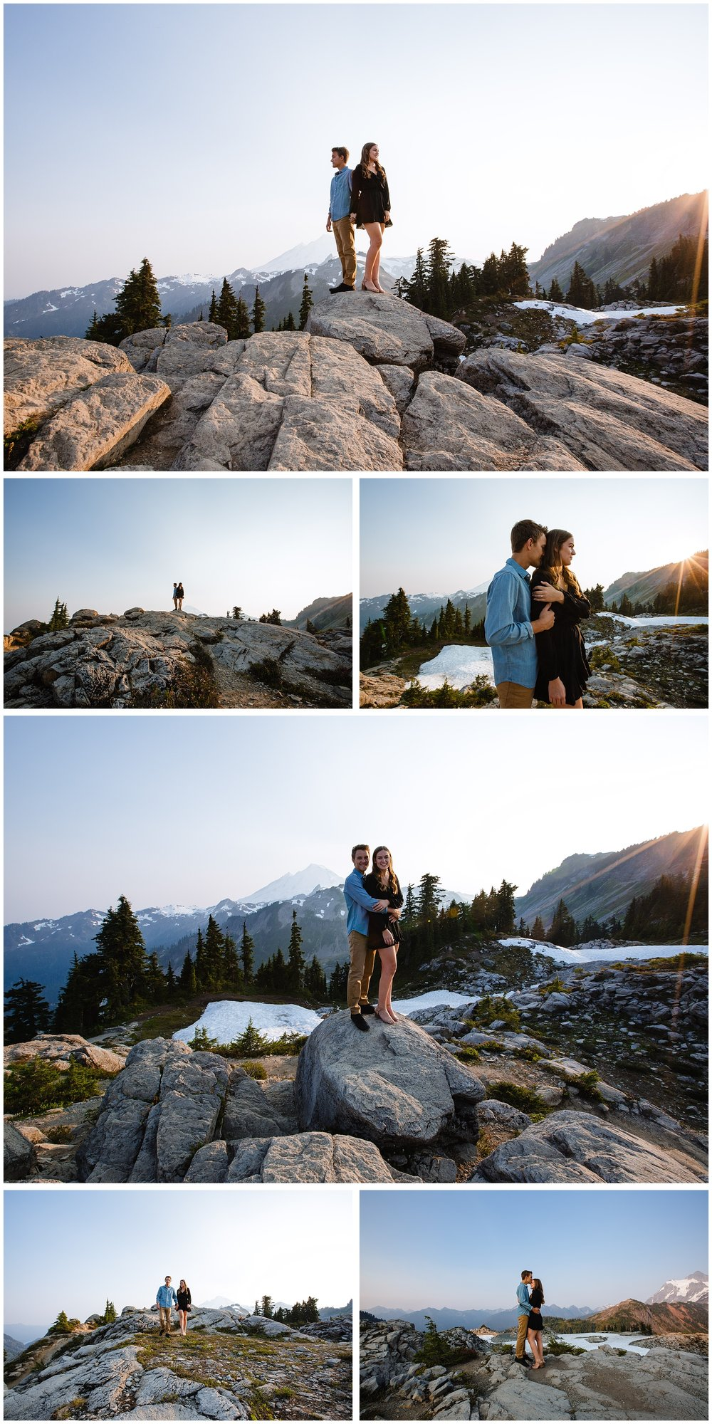 Romantic couple on the top of Mt Baker for a mountain top engagement session in the evening
