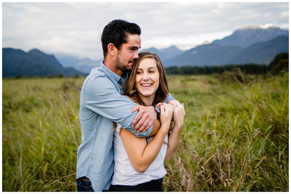 Pitt Lake Pitt Meadows Engagement Photographer Romantic Couple Mountains Lake Black Jean Sunset Flash Fall Fun Photos_0065.jpg
