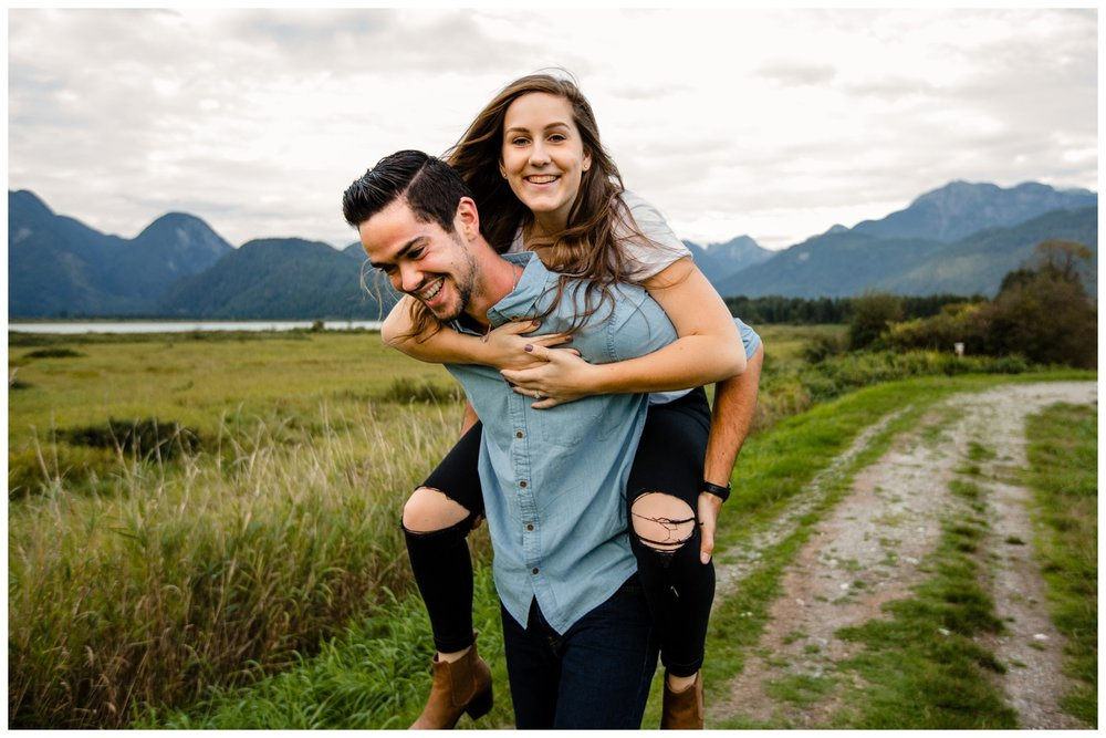 Pitt Lake Pitt Meadows Engagement Photographer Romantic Couple Mountains Lake Black Jean Sunset Flash Fall Fun Photos_0066.jpg