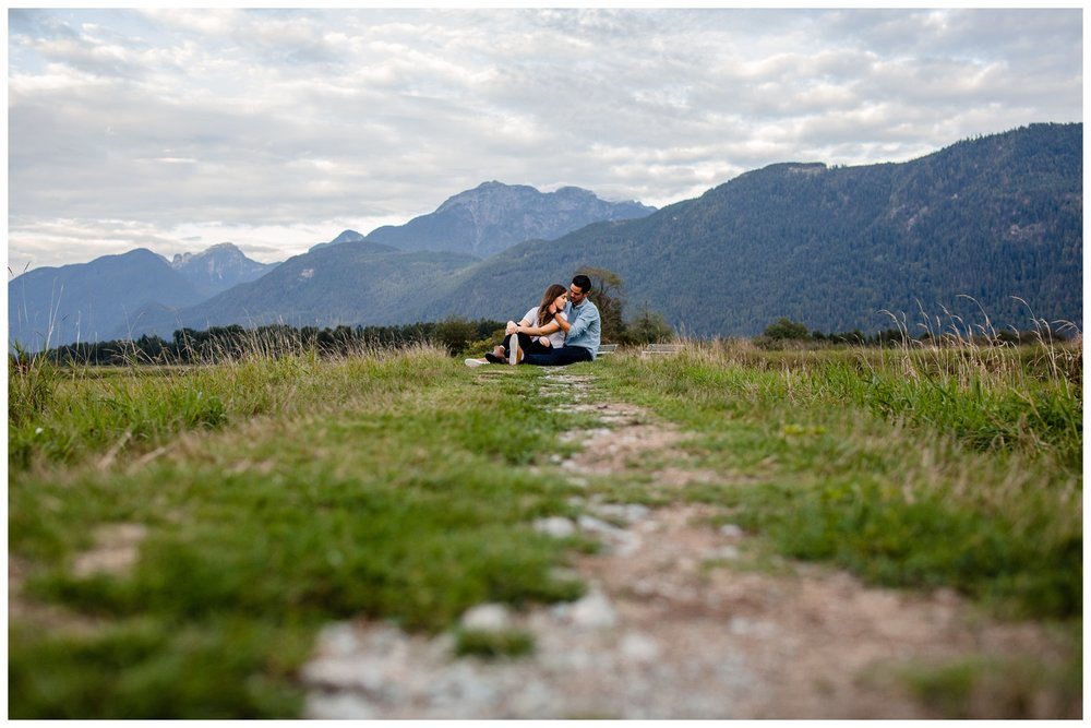 Pitt Lake Pitt Meadows Engagement Photographer Romantic Couple Mountains Lake Black Jean Sunset Flash Fall Fun Photos_0070.jpg