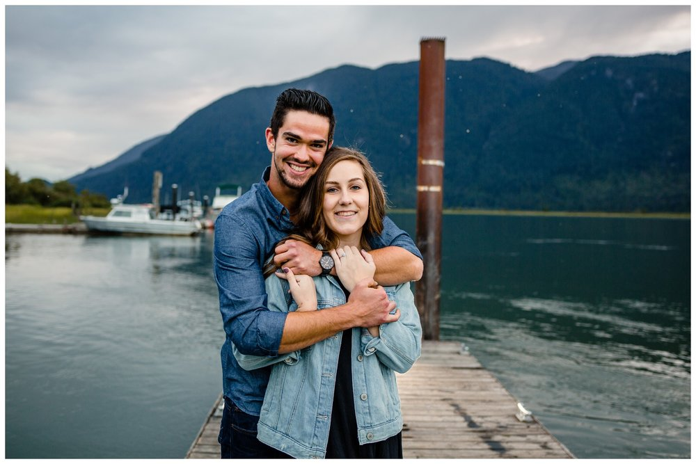 Pitt Lake Pitt Meadows Engagement Photographer Romantic Couple Mountains Lake Black Jean Sunset Flash Fall Fun Photos_0079.jpg