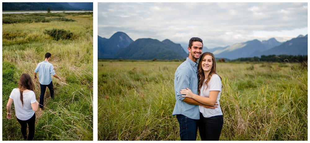 Pitt Lake Pitt Meadows Engagement Photographer Romantic Couple Mountains Lake Black Jean Sunset Flash Fall Fun Photos_0087.jpg