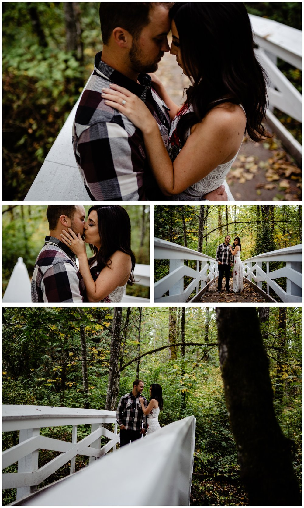 Williams Park Aldergrove Engagement Photographer Moody Fall Couple River Water Romantic Pose Yellow Leaves White Dress Dark_0021.jpg