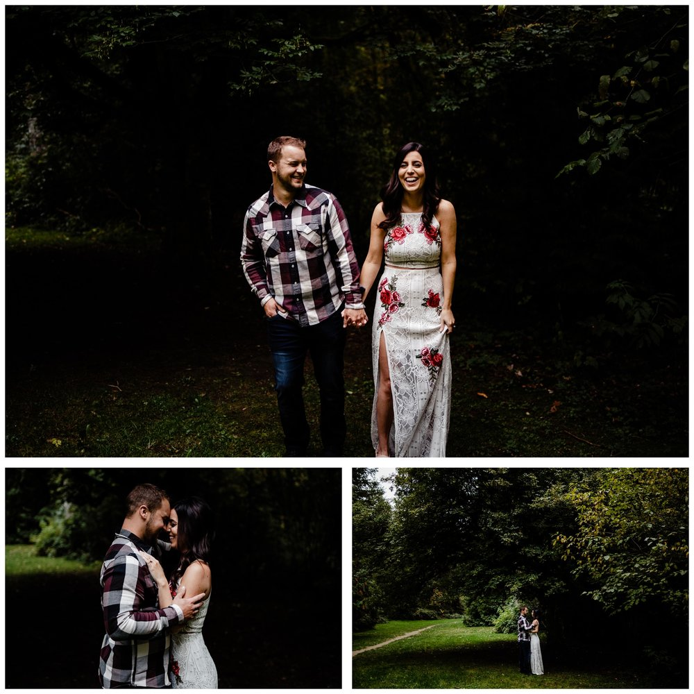 Williams Park Aldergrove Engagement Photographer Moody Fall Couple River Water Romantic Pose Yellow Leaves White Dress Dark_0025.jpg