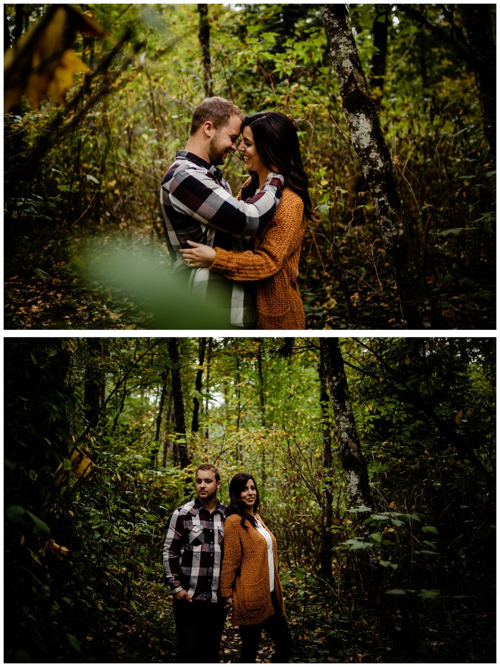 Williams Park Aldergrove Engagement Photographer Moody Fall Couple River Water Romantic Pose Yellow Leaves White Dress Dark_0034.jpg
