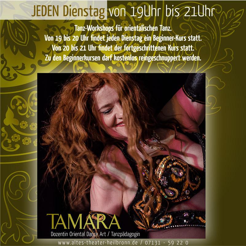 Tamara leitet die beiden Tanz-Workshops jeden Dienstag